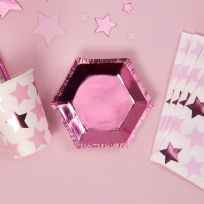 Pink Foil Small Hexagonal Plates (8)